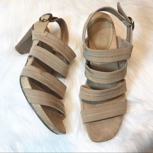 Abella tan heeled sandals worn once